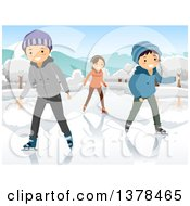 Clipart Of Happy Teenagers Ice Skating On A Frozen Pond Or Lake Royalty Free Vector Illustration