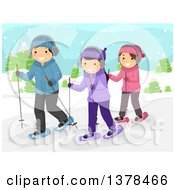 Clipart Of A Group Of Happy Teenagers Snow Walking Royalty Free Vector Illustration