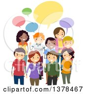 Clipart Of A Group Of Adults Discussing Their Opinions Under Colorful Speech Bubbles Royalty Free Vector Illustration