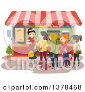 Clipart Of A Line Of People At A Food Vendor Royalty Free Vector Illustration by BNP Design Studio