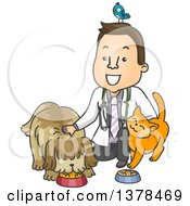 Clipart Of A Cartoon Happy White Male Veterinarian With A Bird Cat And Dog Royalty Free Vector Illustration by BNP Design Studio