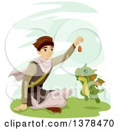 Clipart Of A Brunette White Man Training A Baby Dragon Royalty Free Vector Illustration