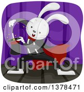 Clipart Of A Rabbit Magician Performing A Trick Royalty Free Vector Illustration