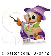 Clipart Of A Wizard Owl Performing Magic Royalty Free Vector Illustration