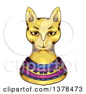 Clipart Of A Gold Ancient Cat God Royalty Free Vector Illustration