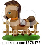 Clipart Of A Cute Pony Wearing A Saddle And Prancing By A Fence Royalty Free Vector Illustration