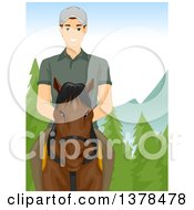 Clipart Of A Brunette White Man Riding Horseback In The Mountains Royalty Free Vector Illustration