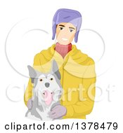 Clipart Of A Happy White Man Petting A Siberian Husky Dog Royalty Free Vector Illustration by BNP Design Studio