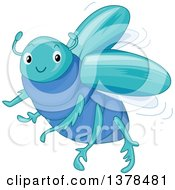 Clipart Of A Cute Blue Scarab Beetle Royalty Free Vector Illustration by BNP Design Studio