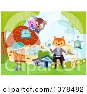 Clipart Of A Fox And Dog Running A Pet Shop In The Woods Royalty Free Vector Illustration