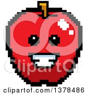 Grinning Apple In 8 Bit Style