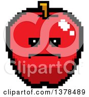 Clipart Of A Serious Apple In 8 Bit Style Royalty Free Vector Illustration