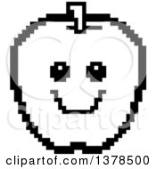 Black And White Smiling Apple In 8 Bit Style