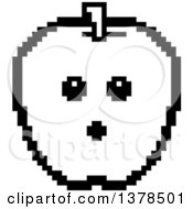 Black And White Surprised Apple In 8 Bit Style