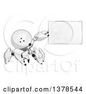 Cartoon Crab Like Robot Holding A Blank Sign Or Business Card