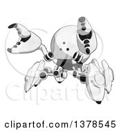Clipart Of A Cartoon Defensive Crab Like Robot Royalty Free Illustration by Leo Blanchette