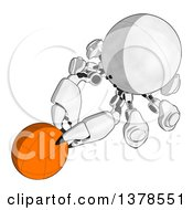 Clipart Of A Cartoon Crab Like Robot Holding A Ball Royalty Free Illustration by Leo Blanchette