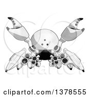 Clipart Of A Cartoon Defensive Crab Like Robot Royalty Free Illustration