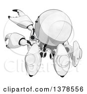 Clipart Of A Cartoon Crab Like Robot Reaching Royalty Free Illustration by Leo Blanchette