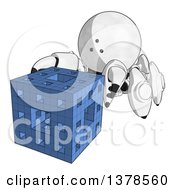 Clipart Of A Cartoon Crab Like Robot Assembling A Block Royalty Free Illustration