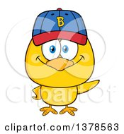 Clipart Of A Yellow Chick Wearing A Baseball Cap Royalty Free Vector Illustration by Hit Toon