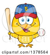 Clipart Of A Yellow Chick With Baseball Gear Royalty Free Vector Illustration by Hit Toon
