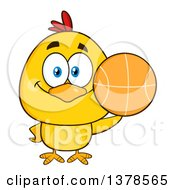 Clipart Of A Yellow Chick Holding A Basketball Royalty Free Vector Illustration by Hit Toon