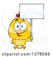 Clipart Of A Yellow Chick Holding A Blank Sign Royalty Free Vector Illustration by Hit Toon