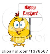 Clipart Of A Yellow Chick Holding A Happy Easter Sign Royalty Free Vector Illustration by Hit Toon