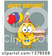 Clipart Of A Yellow Birthday Chick With A Cake And Party Balloons With Text Royalty Free Vector Illustration by Hit Toon