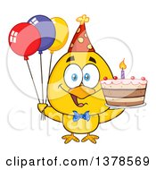 Clipart Of A Yellow Birthday Chick With A Cake And Party Balloons Royalty Free Vector Illustration by Hit Toon