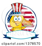 Clipart Of A Yellow Chick Holding A Tray Of Fast Food And Wearing An American Top Hat Over A Flag Label Royalty Free Vector Illustration by Hit Toon