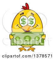 Clipart Of A Yellow Rich Chick With Dollar Eyes Holding Cash Royalty Free Vector Illustration by Hit Toon