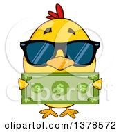 Clipart Of A Yellow Rich Chick Wearing Sunglasses And Holding Cash Royalty Free Vector Illustration by Hit Toon