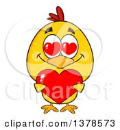 Clipart Of A Yellow Chick In Love Holding A Heart Royalty Free Vector Illustration by Hit Toon