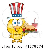 Yellow Chick Holding A Tray Of Fast Food And Wearing An American Top Hat