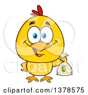 Clipart Of A Yellow Rich Chick Holding A Money Bag Royalty Free Vector Illustration by Hit Toon