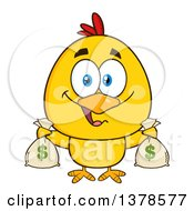 Clipart Of A Yellow Rich Chick Holding Money Bags Royalty Free Vector Illustration by Hit Toon