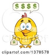 Clipart Of A Yellow Rich Chick Talking And Holding Money Bags Royalty Free Vector Illustration by Hit Toon