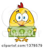 Clipart Of A Yellow Rich Chick Holding Cash Royalty Free Vector Illustration by Hit Toon