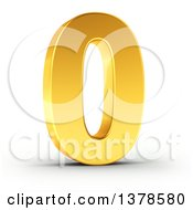 Clipart Of A 3d Golden Digit Number 0 On A Shaded White Background Royalty Free Illustration