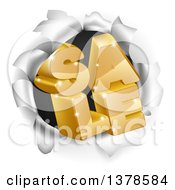 Clipart Of 3d Gold Sale Text Breaking Through A Hole In A Wall Royalty Free Vector Illustration by AtStockIllustration