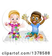 Clipart Of A Happy White Girl Playing With Toy Blocks And A Black Boy Hand Painting Royalty Free Vector Illustration by AtStockIllustration