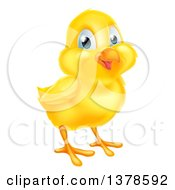 Clipart Of A Cute Happy Yellow Easter Chick Royalty Free Vector Illustration