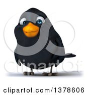 Clipart Of A 3d Black Bird On A White Background Royalty Free Illustration by Julos