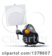 3d Black Bird Holding A Blank Sign On A White Background