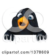 3d Black Bird Over A Sign On A White Background