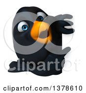 3d Black Bird Looking Around A Sign On A White Background