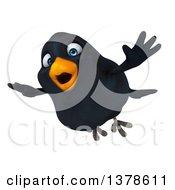 3d Black Bird Flying On A White Background