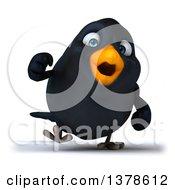 3d Black Bird Walking On A White Background